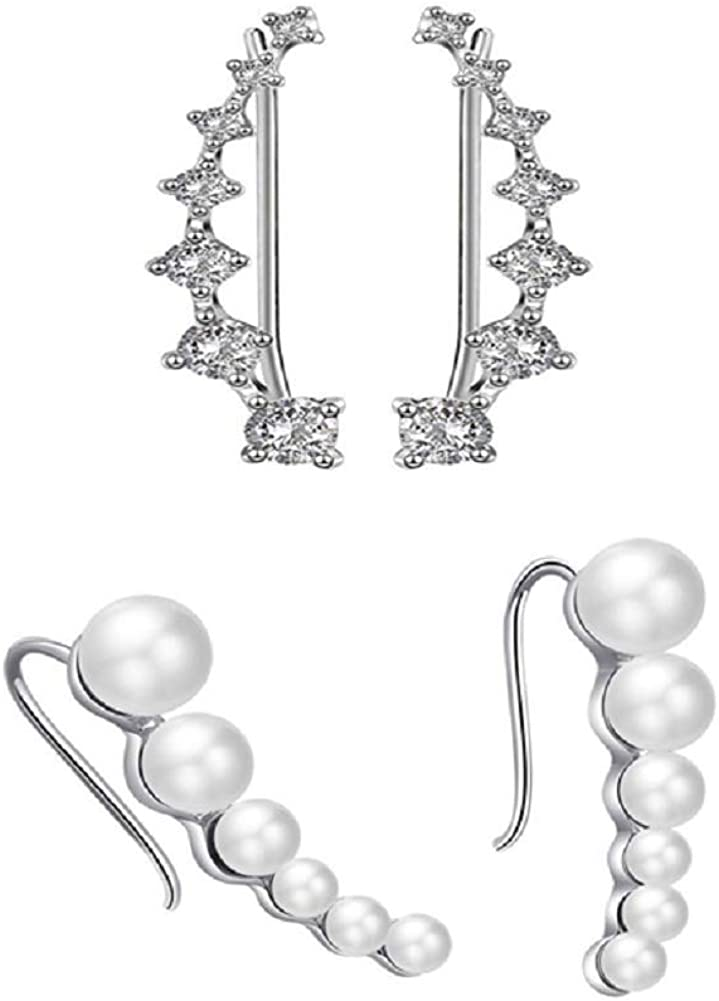 Tiande 2 Pair Simulated Pearls Crystals Ear Cuffs Hoop Climber Earrings Crawler Hypoallergenic Stud Ear Climber Jackets