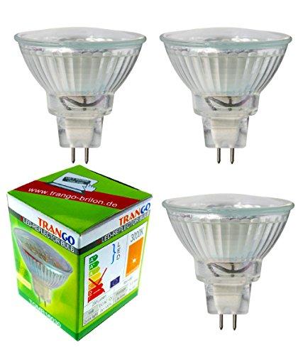 Trango Conjunto de 3 Bombilla LED con casquillo MR16-3TGMR16030 para reemplazar bombillas halógenas convencionales MR16 I GU5.3 I G4 12 voltios 3000K bombilla blanca cálida, bombilla reflectora