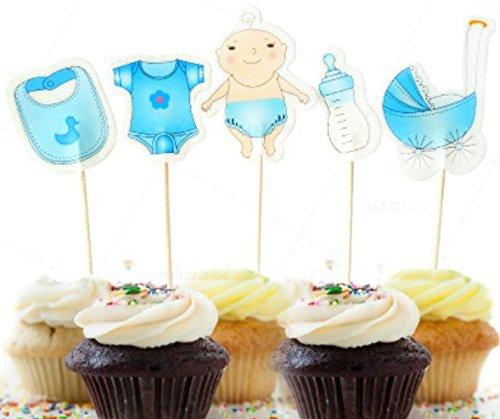AILEXI 20 cuentos hechos a mano para decorar pasteles para pastel cuppastel y helado - Baby Shower Boy
