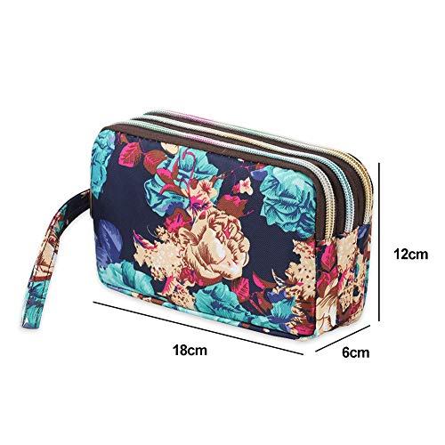 ljym88 Borsetta da donna a tre strati con cerniera, borsa per telefono in tela, grande capacità, portachiavi con hion e monete, pochette lunga con