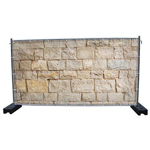 (Mesh) Steinwand B5 Bauzaunbanner, Sichtschutz, Windschutz, Zaunblende, Festival Banner, 340 x 173 cm, DRUCKUNDSO