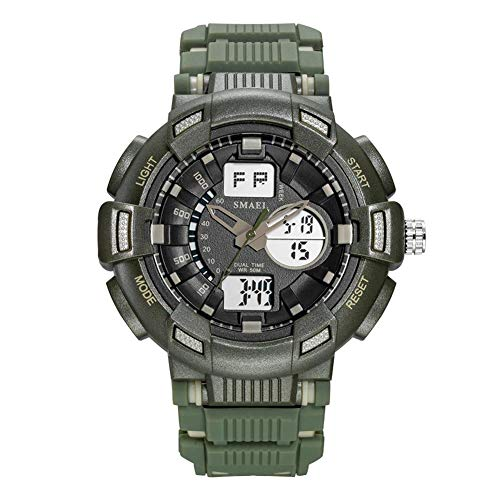 SMAEL Relojes Deportivos para Hombre Resistente Al Agua Digital Militares Relojes con Cuenta Atrás para Los Hombres Niños Grandes LED De Analógico Relojes De Pulsera para Hombre (Azul),Army Green