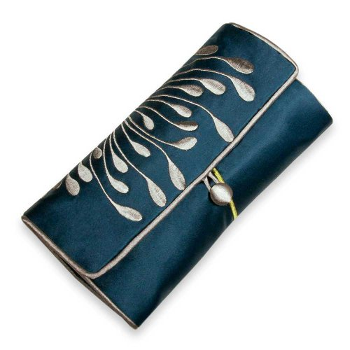 Red Blossom Jewelry Roll Clutch - Embroidered Chrysanthemum (Peacock)