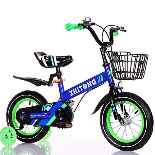 FYLY-16 Pulgadas Bicicleta Infantil con Ruedas de Entrenamiento, Frenos de Doble Disco Bicicleta para Niños, para Edades de 5-7 Años 110-125cm de Altura Niños y Niñas,Azul