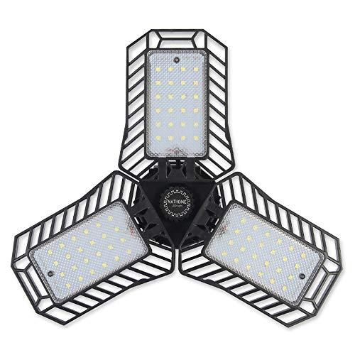 NATHOME led Garage Light,72 LED (70W Equivalent) Garage Lighting/daylight 5000K AC110V/Aluminum Cooling system/deformable leaf garage light, indoor use Shop Lights,Workshop Light (Eqv 70W 5000K)