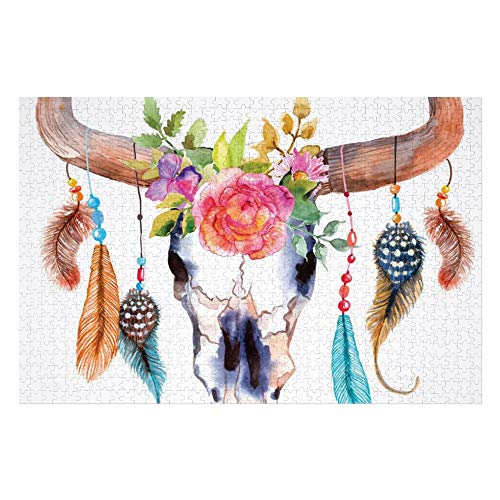 Judascepeda 1000 Pieces Wooden Puzzles Game Watercolor Bull Skull with Hanging Flower Feathers Ethnic Inspired Native American Design Multicolor Jigsaw Puzzles for Adults and Kids