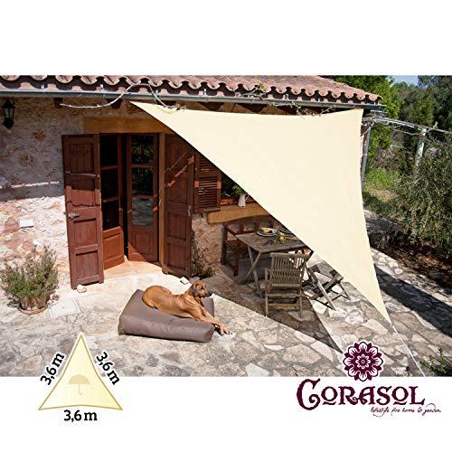 Corasol 110459 Premium Sonnensegel inkl. Zubehör, 3,6 x 3,6 x 3,6 m, Dreieck, wasserabweisend, Creme-weiß