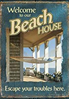 Toland Home Garden 私たちのビーチハウス12.5 X 18インチ装飾夏休みようこそハンモックガーデン旗
