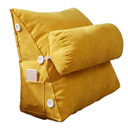 KAISUN Cuña Almohada Triángulo Almohada,Soporte para la Espalda Almohada Cojín Flexible Almohada de Lectura Ajustable Sofá Cama Cojín de Descanso (Amarillo,45 x 22 x 50cm)