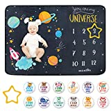 Baby Milestone Blanket - Cute Space Design Monthly Milestone Blanket for Baby Boy & Girl, Nice Wrapped with 12 Animal Milestone Stickers, Super Soft and Thick Flannel Material, 60' x 40' Large Size