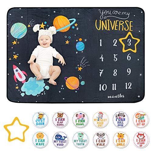 Manta para bebé, regalos personalizados para bebé, diseño único de espacio, tamaño grande, doble cara, material de franela, color blanco y negro, manta hito para bebé niña y niño