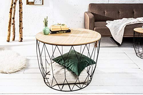Invicta Interior salontafel Storage met opbergruimte, opbergvak 52 cm zwart met stijlvolle houten plaat