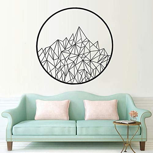 Calcomanía de pared geométrica moderna montaña mural sala de estar dormitorio arte cartel etiqueta de la pared decoración del hogar 57x57cm