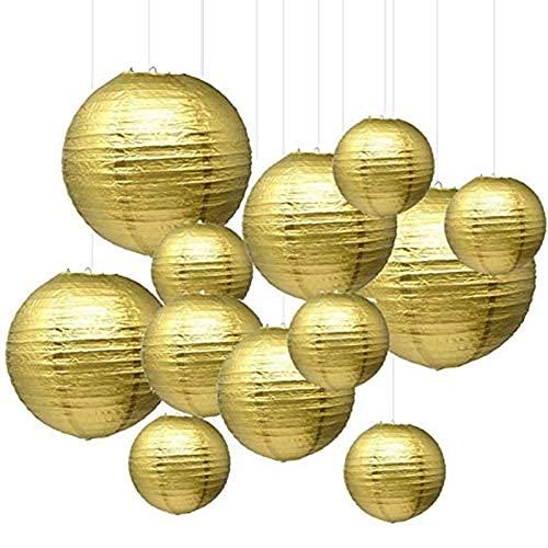 GUOXIANG Papierlaterne Gold 12 Stück Lampions Rund Lampenschirm Rund Papier Papier Laterne Papierlampion 15cm für Hochtzeit Party Geburtstag Dekoration Deco (15/20/25/30cm, Gold)