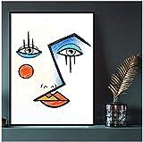 CAPTIVATE HEART Impresión de Lienzo 50x70 cm sin Marco Cara Picasso Póster Impresión de Arte de Pared Imagen Estilo de Moda Sala de Estar Pintura de Lienzo Arte de Pared para Sala de Estar