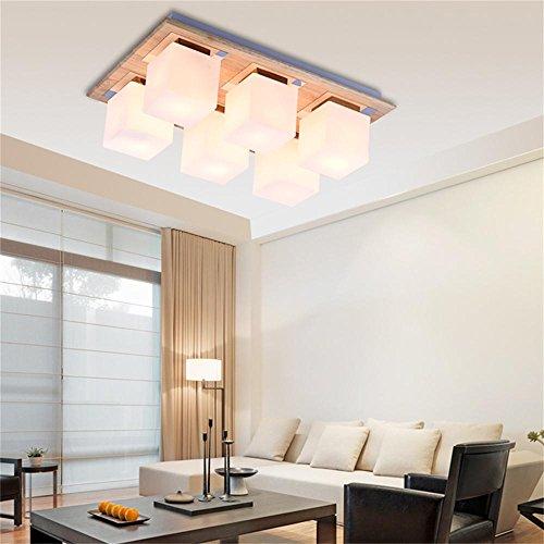 Lumières FUFU Luminaires intérieur LED Lampe de Salon Bois Simple création Plafond carré, Moderne Eclairage (Taille : 6)