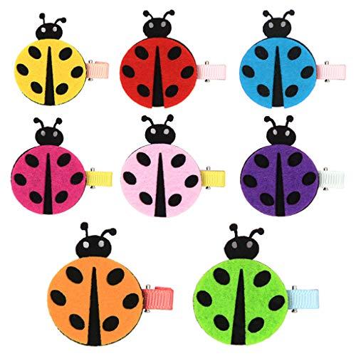 Niumanery 8Pcs/Set Colorful Ladybug Hairpins Felt Cloth Festival Party Hair Clips Headwear