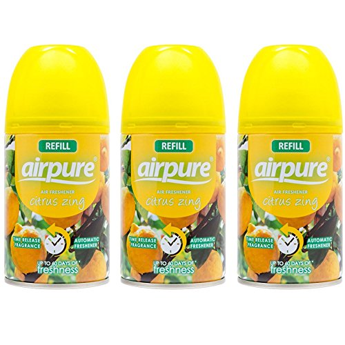 airpure 3 x Nachfüller für Freshmatic, 250 ml, kompatibel mit Citrus Zing Airwick, zitrusgelb, 3 Stück