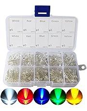 ARCELI Juego de Surtido de diodos emisores de Luces LED de 3 y 5 mm para Arduino Blanco Brillante Rojo Azul Verde Amarillo, Paquete de 300