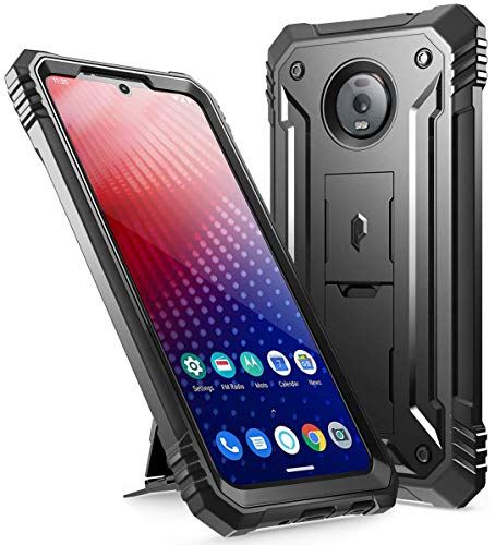 Moto Z4 Rugged Case with Kickstand, Poetic Full-Body Dual-Layer Shockproof Protective Cover, Built-in-Screen Protector, Revolution Series, Defender Case for Motorola Moto Z4 (2019 Release), Black