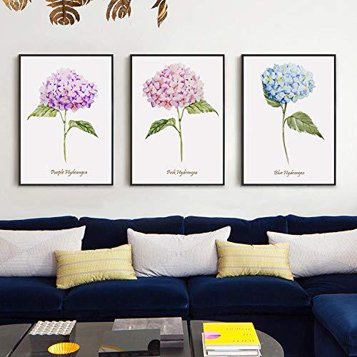 HNGY Elegante Poesie Nordic Modern Aquarell Blumenstrauß Leinwand Malerei Kunstdruck Poster Wanddekoration Wanddekoration-40X60Cmx3 STK. Rahmenlos