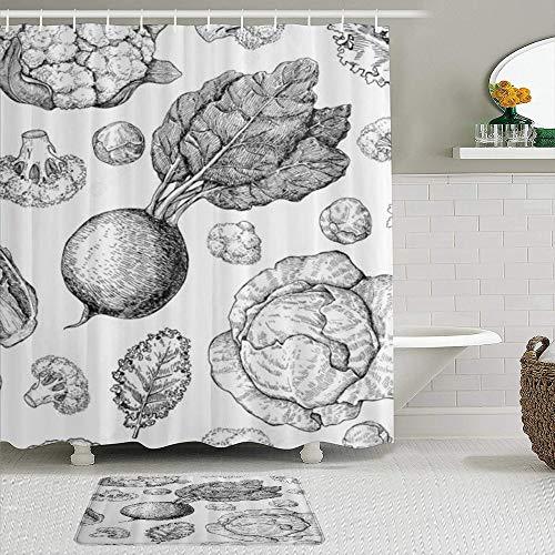 TARTINY 2-teiliges Duschvorhang-Set mit rutschfesten Teppichen,Duschvorhang setzt Badematte Gemüse Weiß Bedruckter Blumenkohl-Rüben-Brokkoli mit 12 Haken