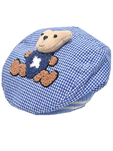 YICHUN Bébé Unisexe Béret Casquette Ours Chaud Bonnet Chapeau de Base-Ball/de Soleil(Tour de Tête :Environ 46cm) (Bleu)