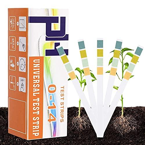Hoimlm 150 bandas de prueba de pH del suelo, pH de la tierra, kit de análisis del pH del suelo, bandas de prueba para el suelo (pH 0-14), para flores, césped, plantas, verduras
