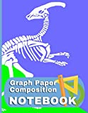 Graph Paper Notebook Parasaurolophus: Dinosaur Fossil Themed Quad Ruled - 4 Squares Per Inch - 8.5 by 11 - 150 Page Notebook