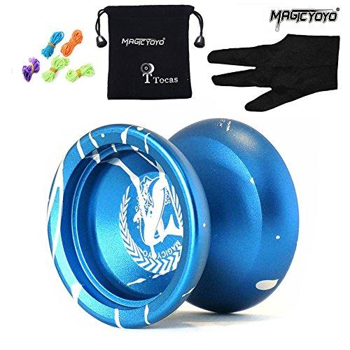 MAGICYOYO N12 Shark Honor Authentic Nicht reagierende YoYo Ball mit Tasche + 5 Strings + Handschuh für Geschenk Spielzeug, Metall, Blau mit Weiß r Kinder Kinder anwesend Mädchen Jungen Geschenke