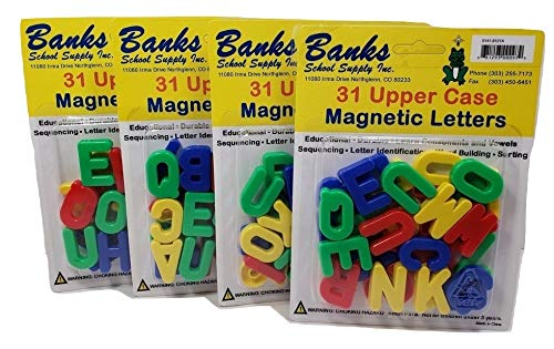 Magnetic Letters Upper CASE Multi-Colored 124 Letters (4 Packs of 31), 26 Alphabet Plus Extra Vowels! Perfect for Homeschool or Classroom, Educational Toys, Learn Spelling, Sorting, Colors