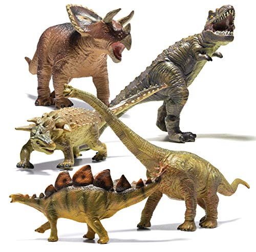 Prextex 5 Piece Jumbo Dinosaur Set - Kids and Toddlers Detailed Realistic Large Dinosaur Toys Set for Dinosaur Lovers - Perfect Dinosaur Party Favors, Birthday Gifts, Dinosaur Toys
