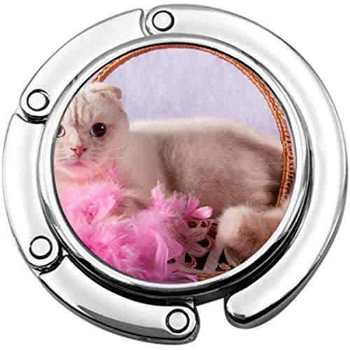 portemonnee haak witte kat liegen rieten mand roze vouwen handtas tafel Hanger-Bag Hanger Collection-Bureau haken