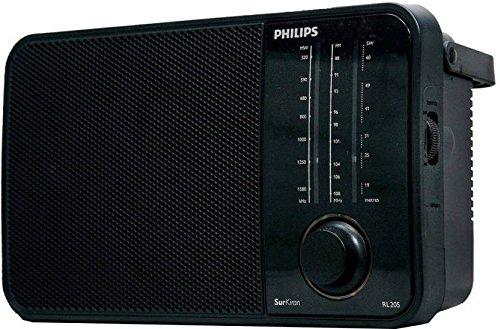 Philips Radio RL205/94 with MW/SW/FM Bands, 450mW RMS soundoutput, Battery:2xR20 (1.5V DC),External DC Socket:3V DC, LED Torch,Glowing Knob& Headphone Socket
