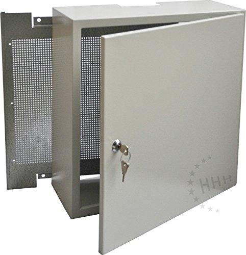 Preisvergleich Produktbild Antennenschrank Montageschrank mit FEUERFESTER Lochrückwand,  hellgrau,  40x40x15 cm (3H-AC404015)