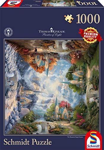 Schmidt 59295 - Thomas Kinkade, Puzzle Plaza, la Iglesia en Las montañas, Puzzle, 1000 Piezas