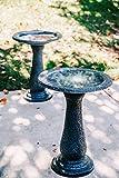 XBrand GE2418BBBK-2 Set of 2 Birdbaths w/Round Pedestal & Base, 23.6 Inch Tall, Black w/Speckled Blue