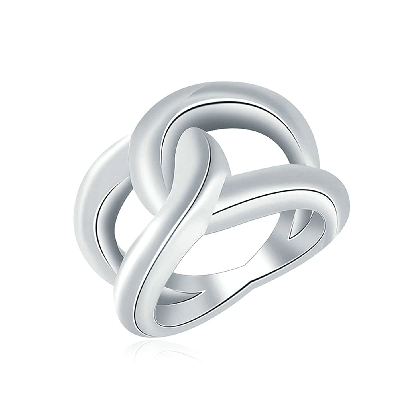 Gnzoe Jewelry,Silver Plated Simple Cross Circle Twist Shape Engagement Rings for Women