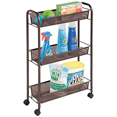 mDesign smart hylla med hjul för köket och städning – förvaring på hjul med 3 hyllplan – smal hylla i metall för kök och badrum – brons