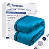 Westinghouse Electric Blanket Heated Throw | 6 Heating Levels & 4 Hours Auto Off | Flannel to Sherpa Reversible 50x60 | Machine Washable,Teal