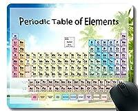 元素の周期表科学化学チャートゲーミングマウスパッド、ステッチされたエッジを持つサンドビーチテーマのマウスマット