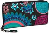 styleBREAKER Monedero con Motivo de Flores étnicas y floración, diseño Vintage, Cremallera, Mujeres 02040040, Color:Negro-Turquesa-Azul