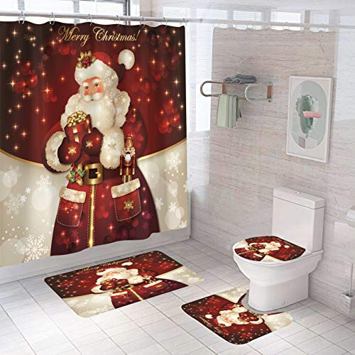 Christmas Bathroom Sets - 4pc - Christmas Shower Curtain, Rugs, Toilet Seat Cover - Christmas Decorations - Bathroom Decor - Santa
