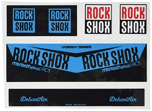Ecoshirt 8W-YERX-XKMT Aufkleber Shock Rock Shox Monarch Plus Rc3 Am203 Aufkleber Stoßdämpfer MTB Downhill, Blau
