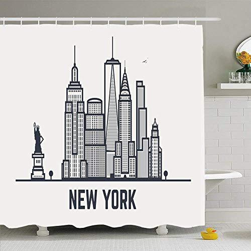 Duschvorhang Set mit Haken New USA York City NYC Architektur Skyline-Stil Silhouette Wahrzeichen Retro Wahrzeichen Parks Wasserdichtes Polyestergewebe Bad Dekor für Badezimmer
