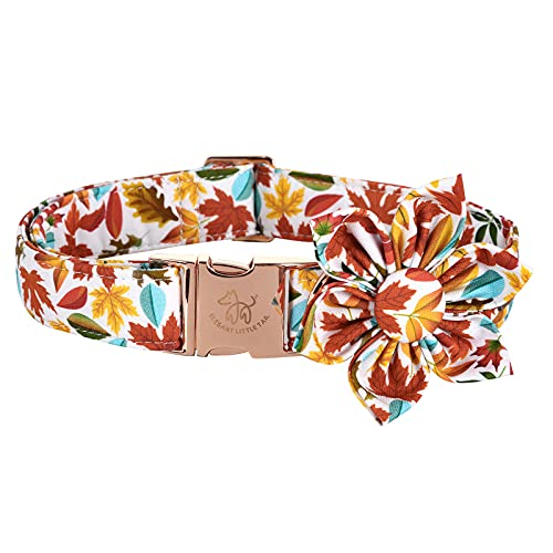 Elegant little tail Flower Dog Collar for Female or Male Dogs, Fall Pet Collar Adjustable Dog Collars with Flower Gift for Medium Dogs