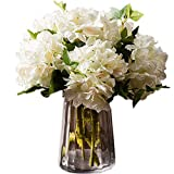 Greentime Pack of 3 Artificial White Hydrangea Flowers Fake Silk Bouquet Flower for Home Wedding Party Decor