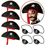 PROLOSO Pirate Hat with Eye Patch Buccaneer Captain Costume Cap Pirate Themed Party Accessories Caribbean Fancy Dress Up Set of 8