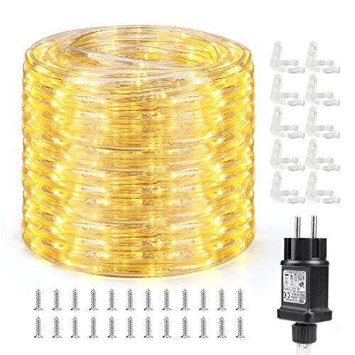 Qedertek Lichtschlauch Außen 10m, 240 LED Lichterschlauch IP65 Wasserdicht, Lichterkette Strombetrieben mit EU-Stecker für Innen, Außen, Party, Hochzeit, Garten Dekolicht (Warmweiß)
