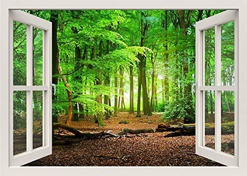 Efecto 3D Ventana Vista Pegatinas de pared Naturaleza Bosque Pared Vinilo Tatuajes Decoración Mural Paisaje Arte Decoración para el hogar 70x100cm